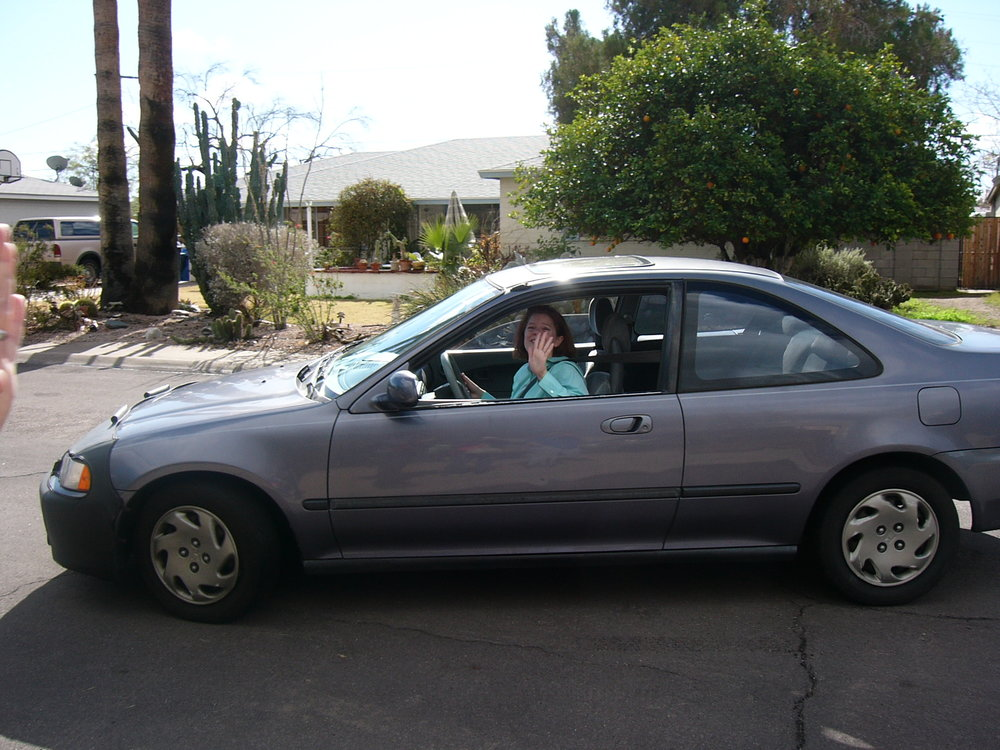 Melly in her old '95 Civic, circa 2008.