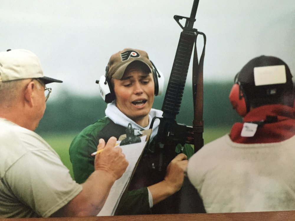 Shooting the Whistler Boy match at Camp Perry in about 2000. Based on my expression, I am making an excuse for a bad shot.