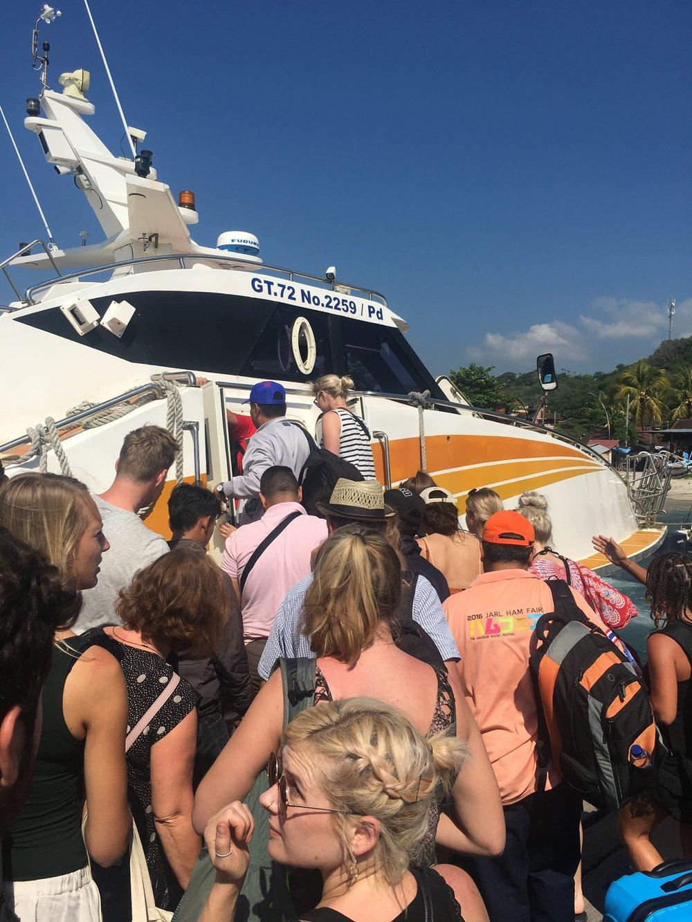 Boarding the boat on Bali