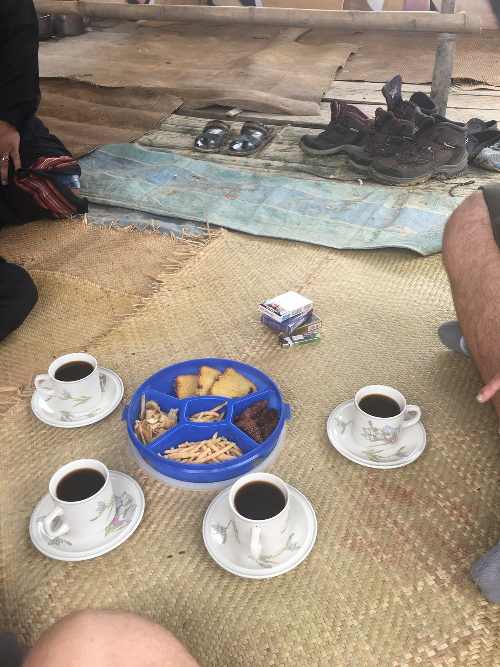 First course: Coffee, crackers, and bread