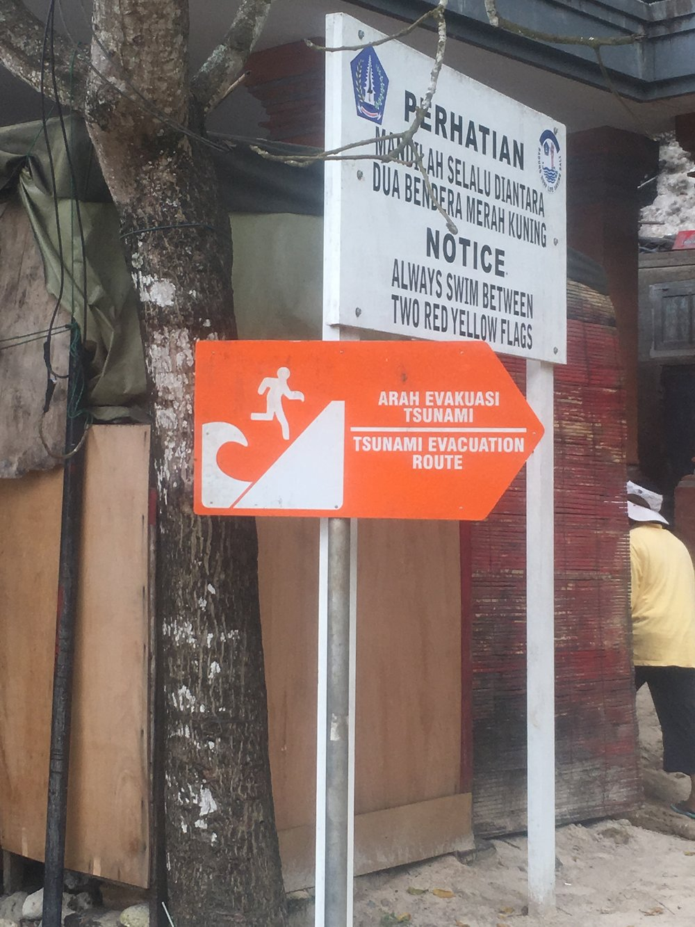 First time I've seen a Tsunami Evacuation sign! Patong Patong Beach, Bali, Indonesia.