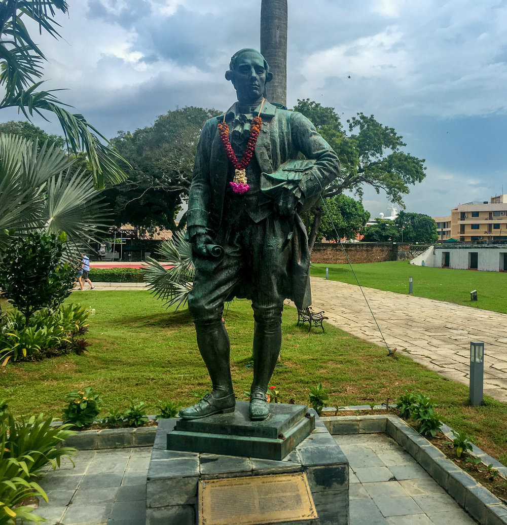 A statue of Sir Francis Light in Fort Cornwallis
