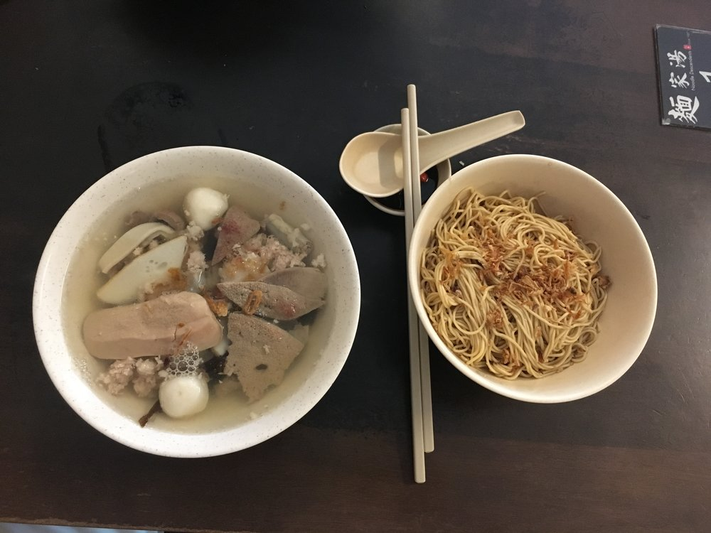 Galvin took me to a local favorite. The restaurant serves one dish - mixed pork soup, which includes lung, kidney, liver, and meat. The white balls are fish balls.