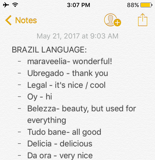 A portion of my Portuguese language cheat sheet I used when I was in Brazil.