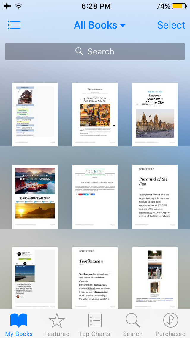 Here's my current iBooks library - a mix of blogs and Wikipedia pages I saved for my trips through China, Mexico and Brazil.