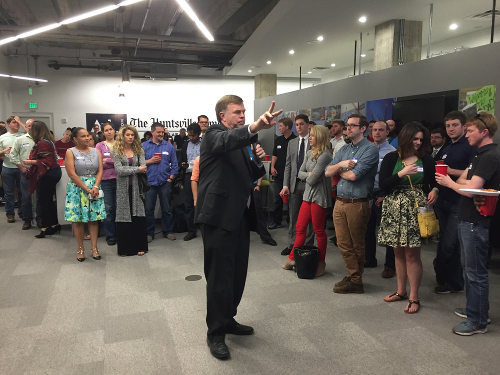 Mayor Battle speaks with CoWorking Night members about how Huntsville is built upon innovation