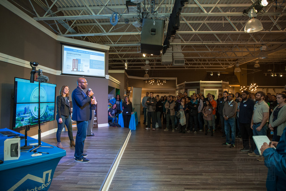 The Google Nashville team presents to a packed audience at CoWorking Night
