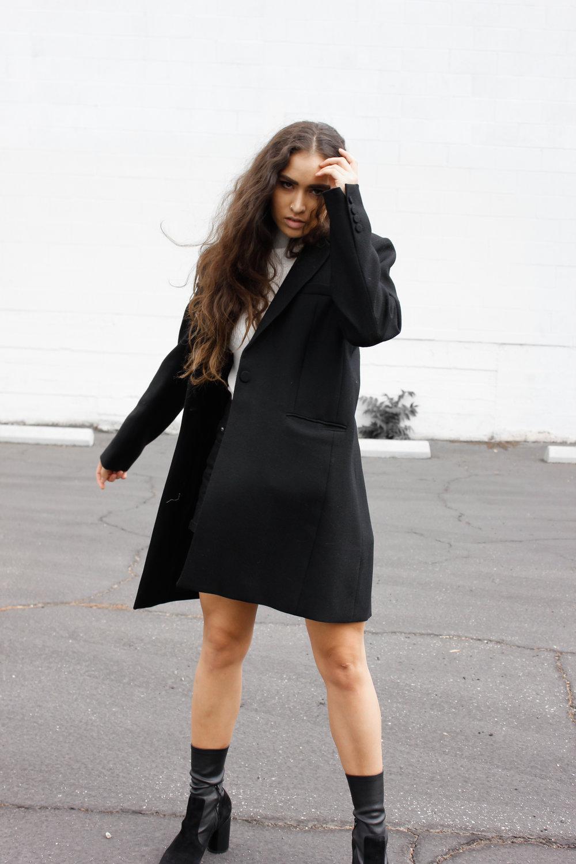 caitlin_miyako_taylor_reformation_black_blazer_coat