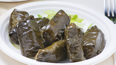 Dolmades  grape leaves filled with rice or meat