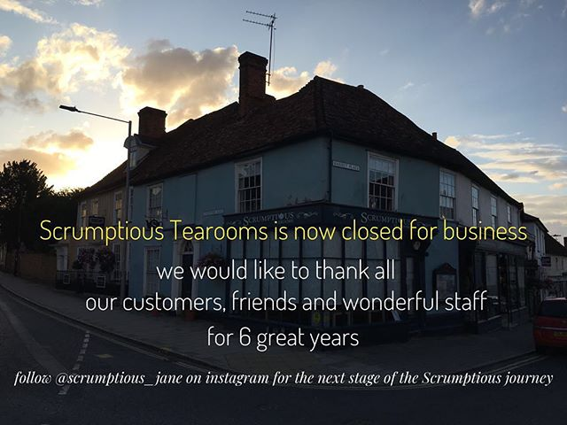Thank you to everyone who has been apart of @scrumptioustearooms .... this will now be our last post so please continue to follow our journey on @scrumptious_jane #greatdunmow #essex #tearooms #closed #sad
