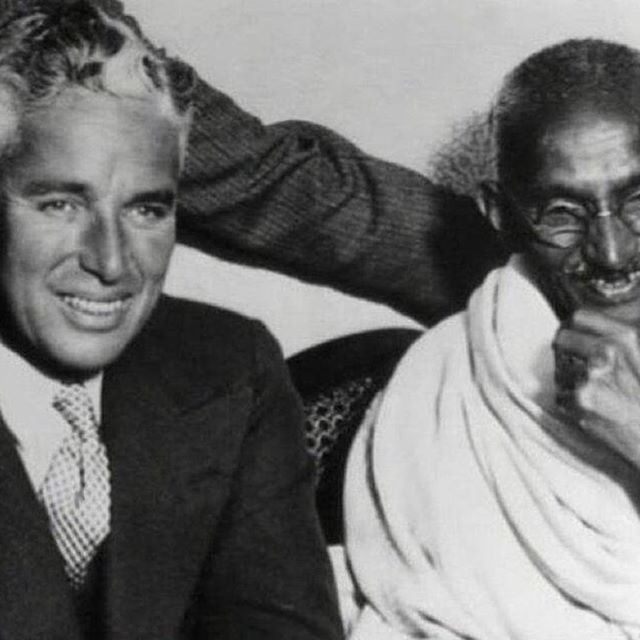 """We want to live by each other's happiness - not by each other's misery."" Charlie Chaplin  Charlie & Gandhi  #repost @historyphotographed"