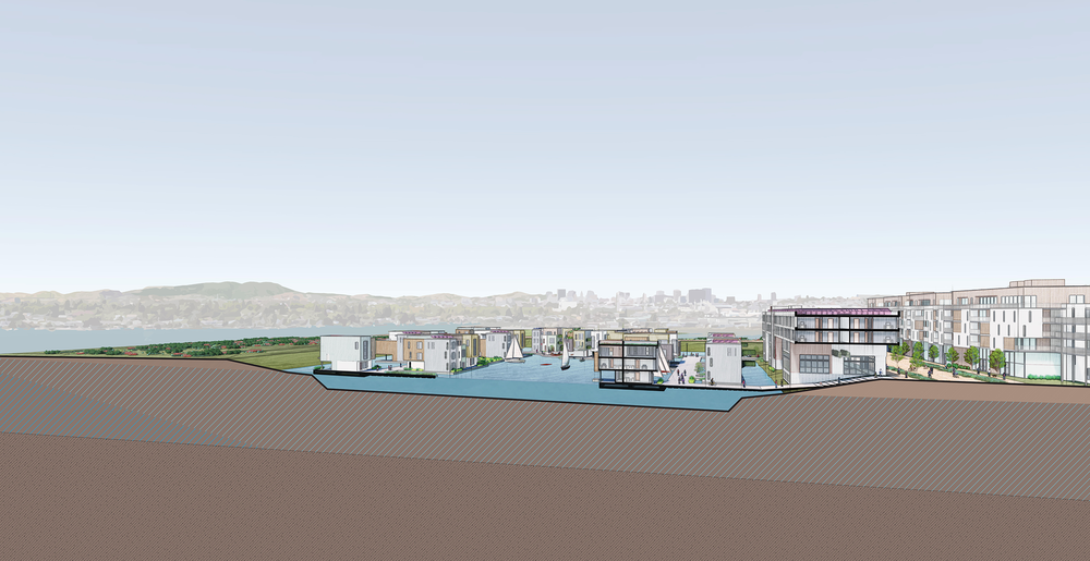 To build a Tidal City, we would excavate a lagoon in an area that's usually dry today but faces future flooding from a combination of rising groundwater, rising bay water, and rain events. Water levels in the lagoons would be controlled with tide gates at the edge of tidal creeks. Using prefabricated units on shared decking supported by pontoons, housing densities could be as high as 50-100 units per acre.