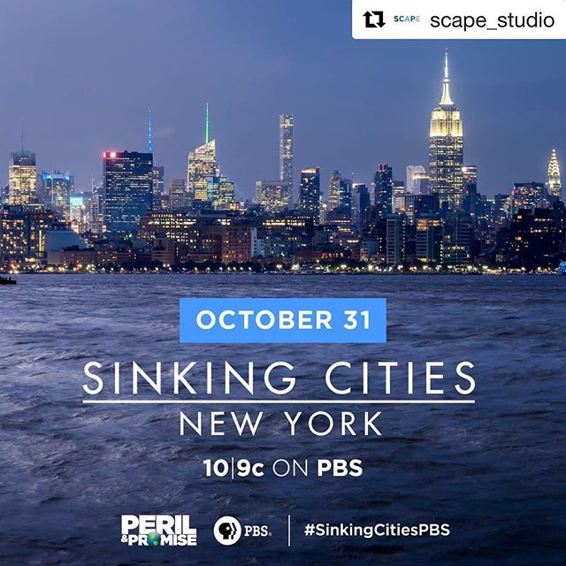 Tune in on Wednesday 10/31! #repost  Six years after the superstorm, how has New York changed after the disaster of Hurricane Sandy?  SCAPE is thrilled to announce our participation in PBS' Sinking Cities series, which explores how four global cities are coming to grips with the real-time effects of rising seas and extreme weather. The series' New York episode, featuring SCAPE's Director of Planning and Resilience Pippa Brashear, will premiere on Wednesday, October 31st at 10/9c on PBS. View the trailer and find out more about the premiere at the link in our bio. #SinkingCitiesPBS #NYC #LivingBreakwaters #Resilience