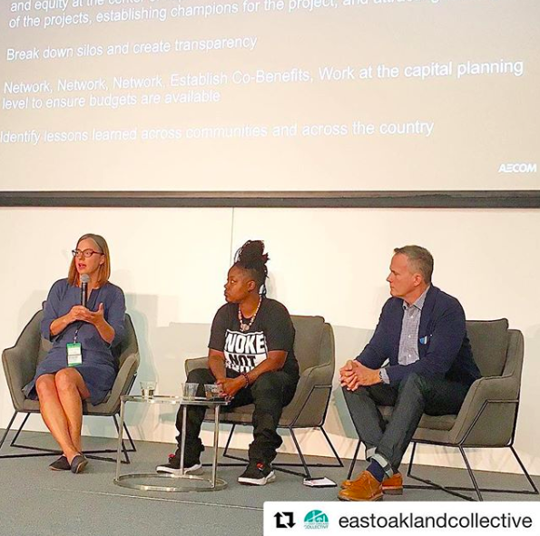 From L to R: Amanda Brown-Stevens, Resilient by Design; Keta Price, East Bay Oakland Collective; and Stephen Engblom, AECOM speaking on a session about how community-driven planning processes create resilience.