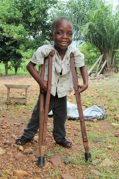 David, who could not walk one year ago, is now using crutches, a tribute to his mother's dedication and sacrifice.