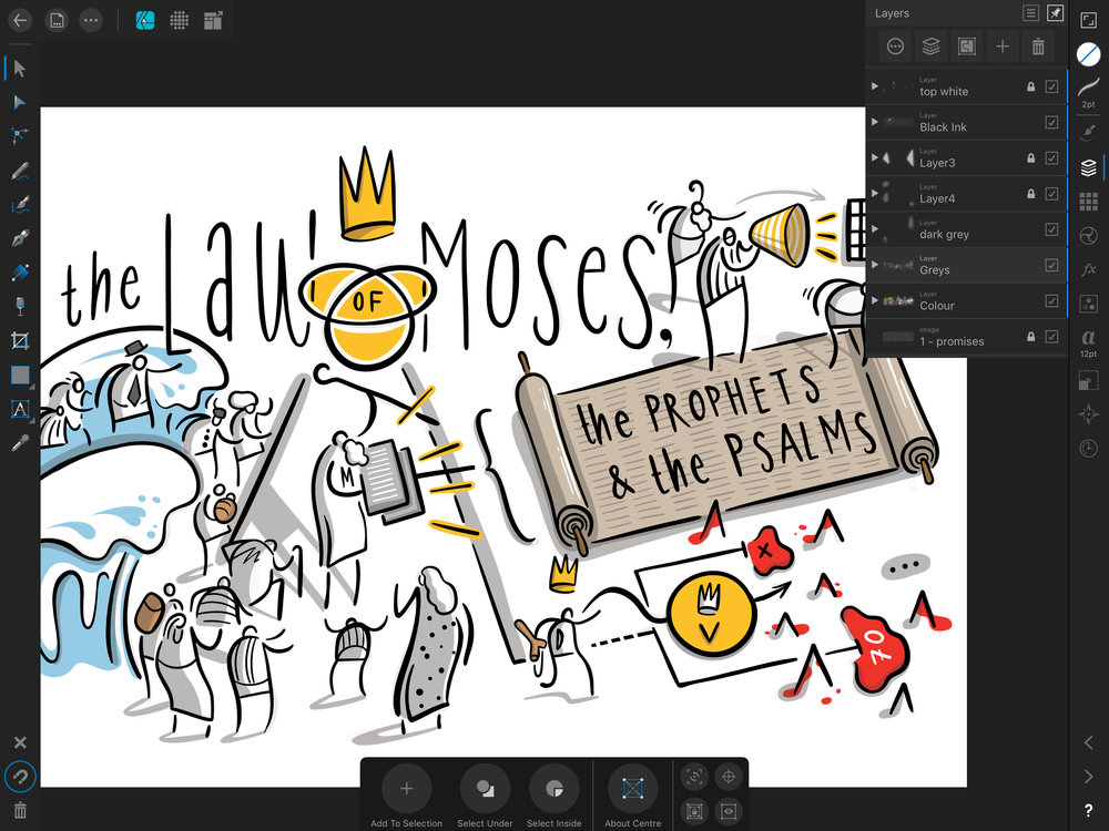 This is a screenshot of the left-hand panel while using Affinity Designer. This has been converted into vectors.