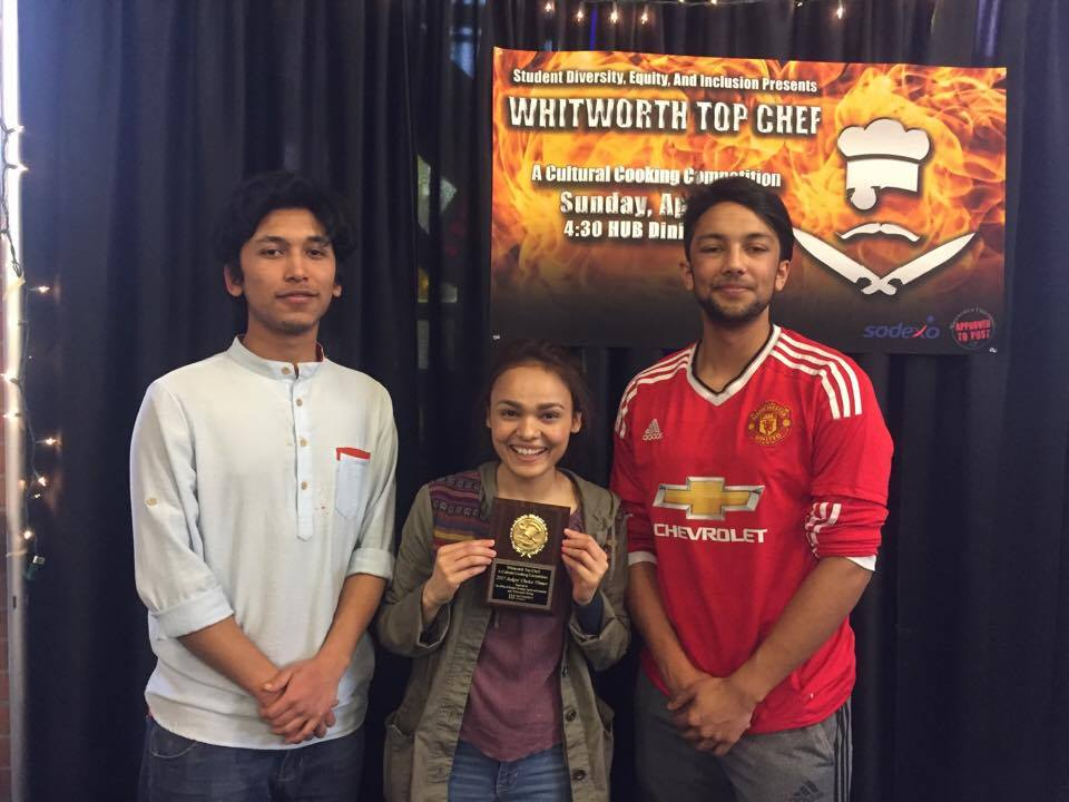Nepalis chefs (left to right) Utsal Shrestha, Purnima Karki and Ishan Gauli pose for a photo with their Judge's choice award on April 9.