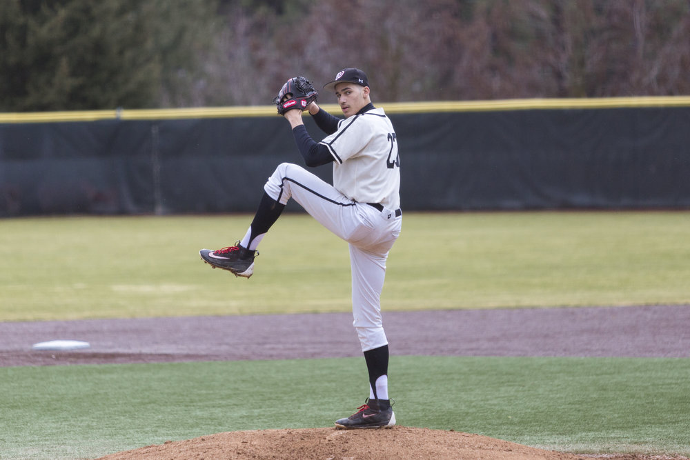 Hugh Smith, '19, became a Pirate late in the recruiting process. Here, he pitches against PLU in mid-March of this year.