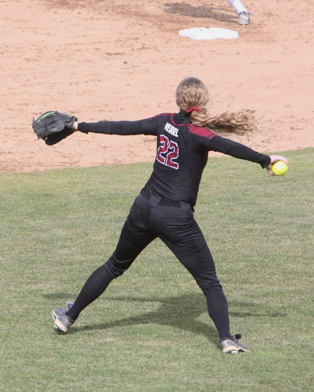 Shannon Wessel, '17, has played all over the field during her time at Whitworth. Wessel played second base as a freshman and sophomore before moving to the outfield as an upperclassman. (Zoe Koch | Photographer)