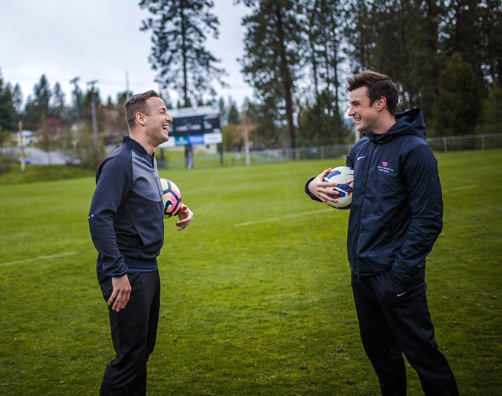 Cathey (right) kept Olson (left) on as an assistant after taking over the team in 2013, and Whitworth hired Olson as the women's coach last spring (Domenica Cooke-Tassone | Photographer).