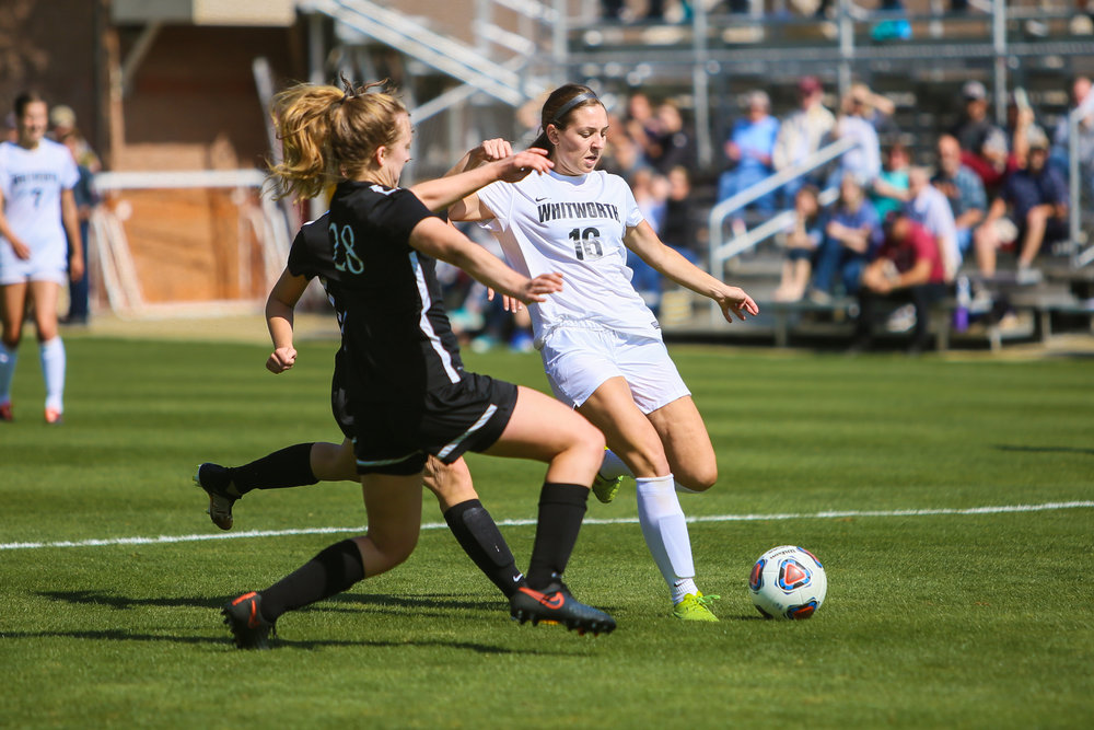 Senior Michele When scoring a goal during the Saturday, Sept. 16 game.