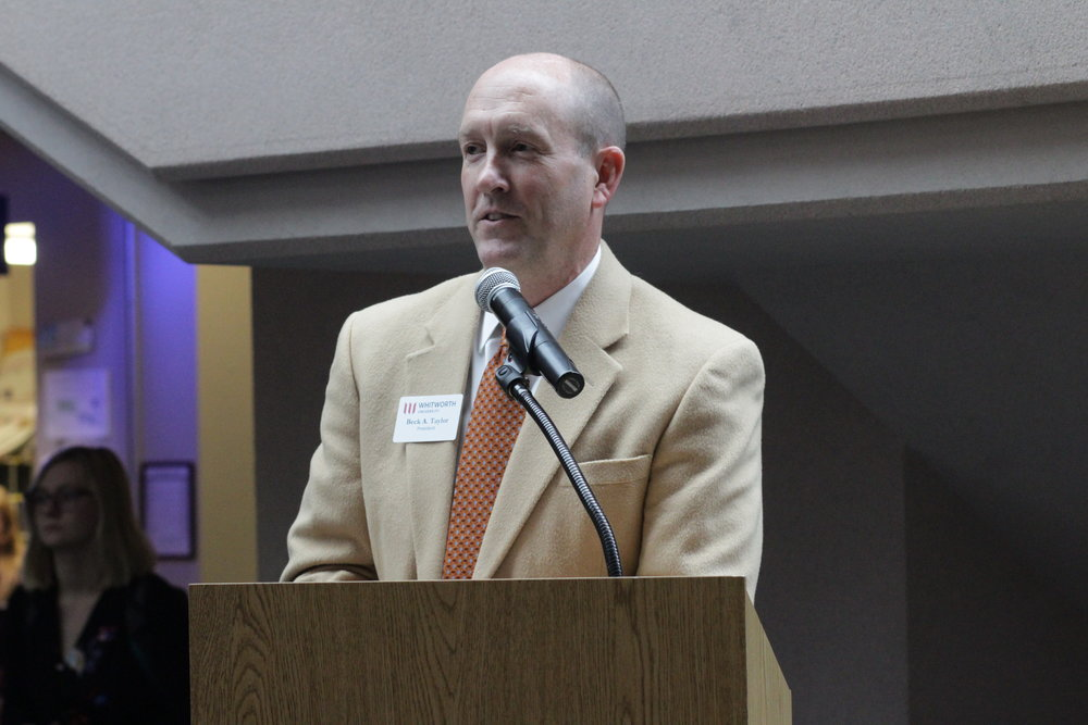 Ian Busik| Photographer President Beck Taylor announcing Whitworth reaching its million dollar goal