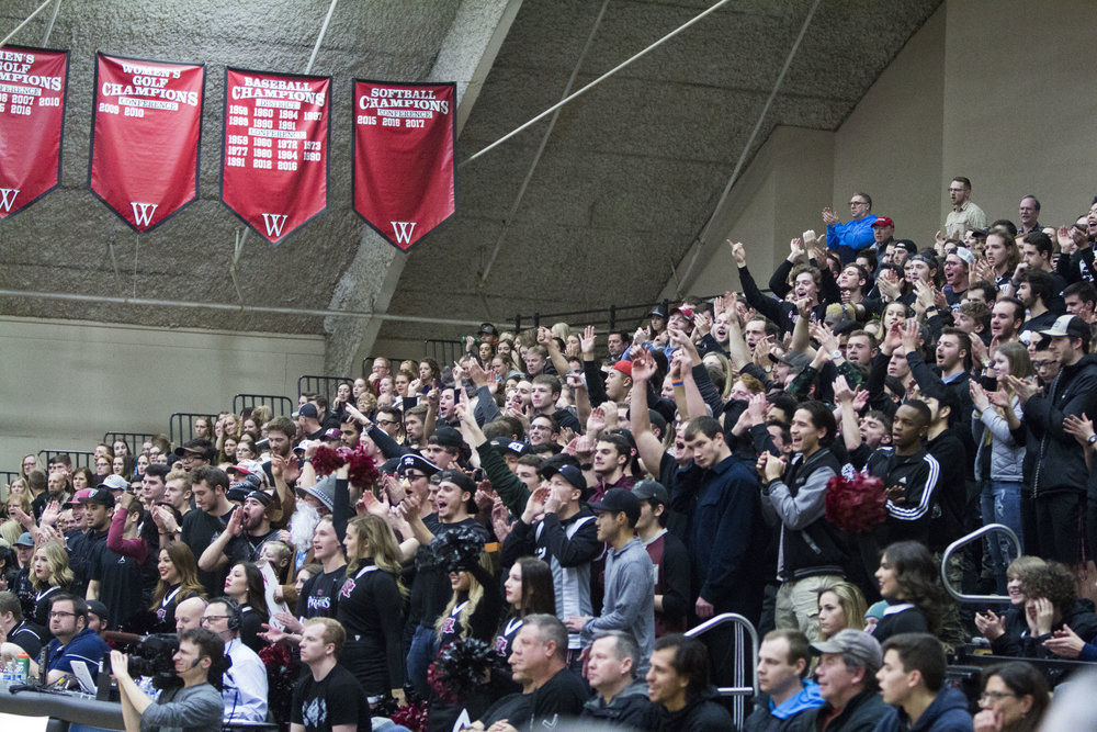 Faith Kahulamu | Photographer   Whitworth's school spirit was alive and well at the Whitworth vs. Whitman game as students cheered the players on.