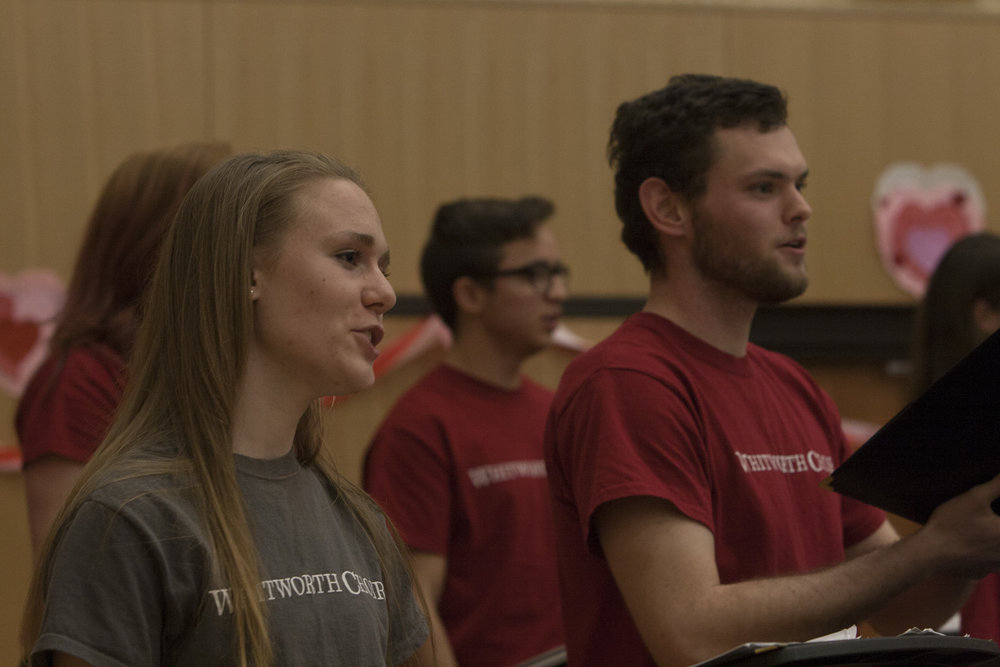 "Members of the Whitworth choir performed several pieces, including two jazz pieces: ""Moonglow"" and ""Besame Mucho""."