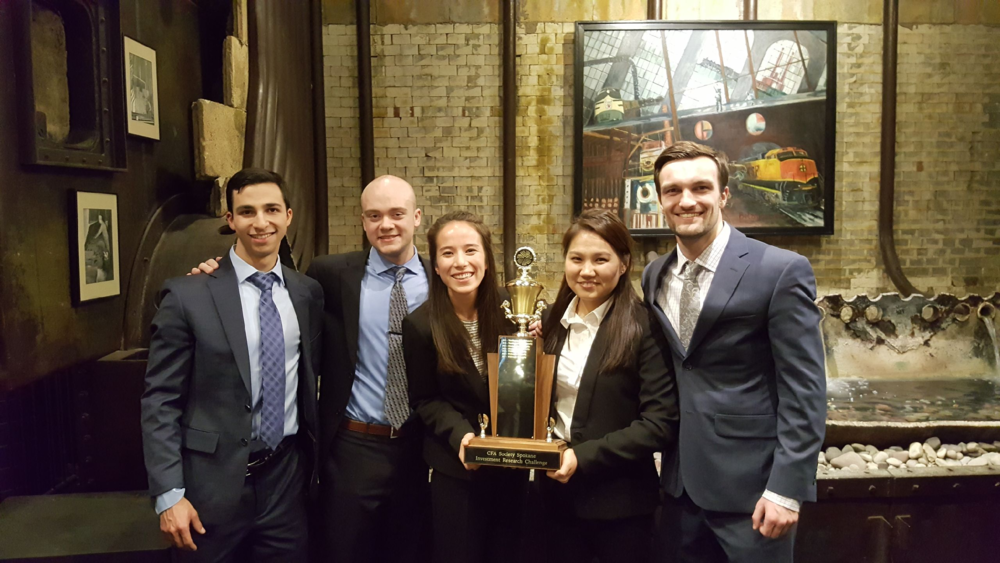 Photo courtesy of Tserenlkham Tsogbadrakh    The Whitworth Investment Group with their award from the CFA tournament. Pictured left to right, the team consists of senior Nathaniel Segarra, Zane Coble, `17 , senior Marika Witt, senior Tserenlkham Tsogbadrakh and junior Tanner Stepp.