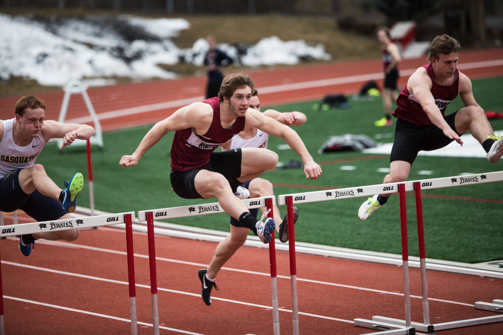 Domenica Cook-Tassone  | Photo Editor  Jonathan Backous,'18,and Nick McGill, '20,hurdling at Whitworth's track meet on March 18, 2018