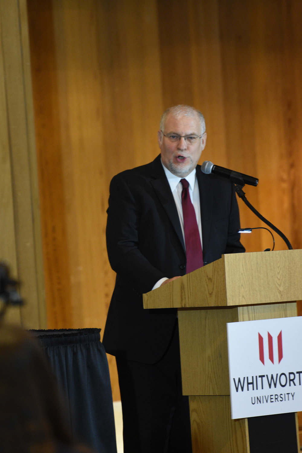 Communications professor Mike Ingram discusses the need for polite civil discourse on both sides of the political spectrum, liberal and conservative, at the President's Colloquy on Civil Discourse, April 16.