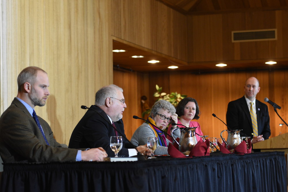 The panelists at the third President's Colloquy for Civil Discourse.