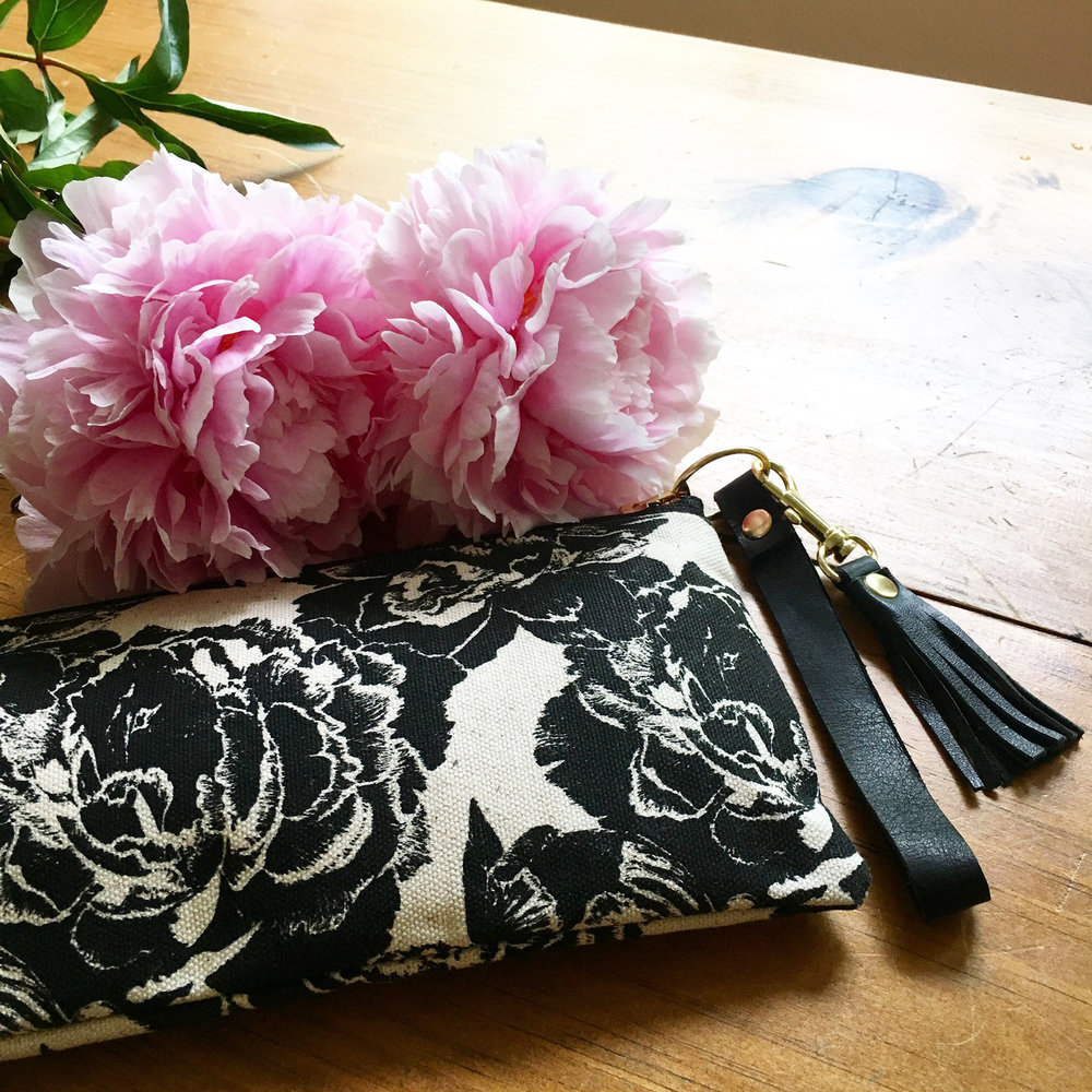 "The ""Peonies"" slim clutch"