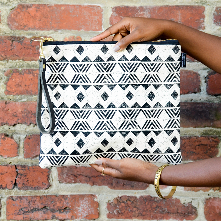 "The ""Aztec"" fold-over clutch"