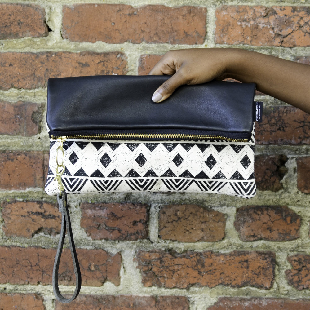 Half Leather Foldover Clutch