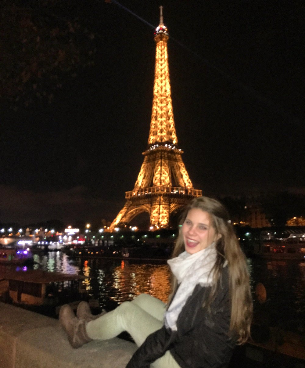 Jessica visiting the Eiffel Tower.