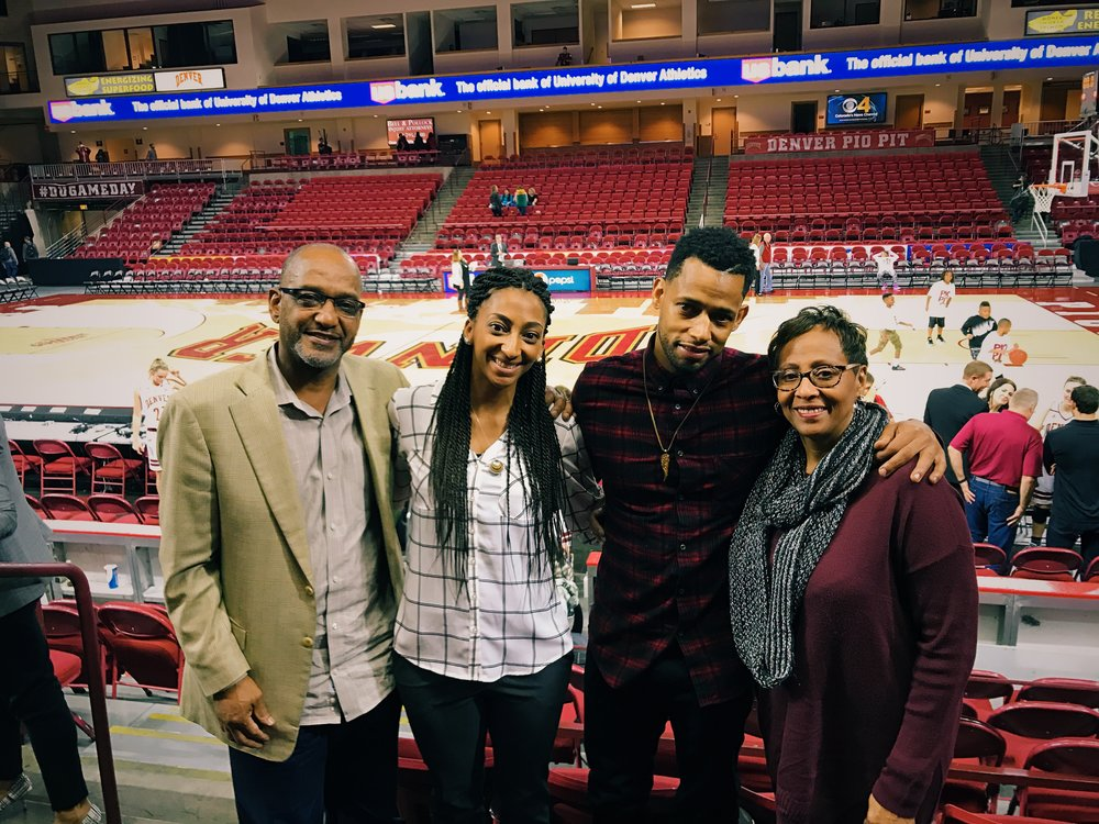 The family together for the first time seeing me on the sidelines during a game--November 2016