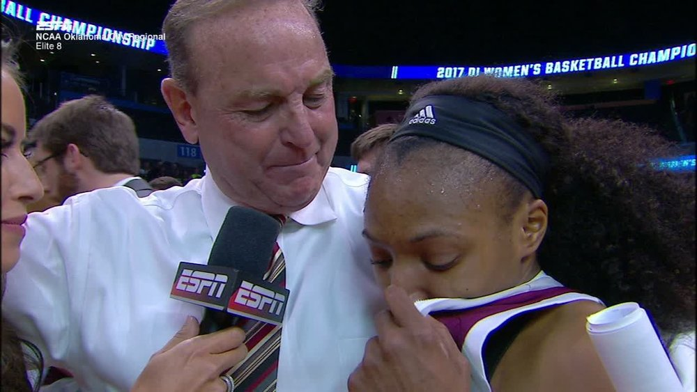 Morgan William with head coach Vic Schaeferafter her 41-point perforamce against Baylor