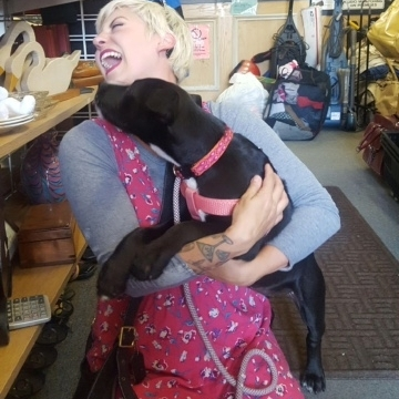Moonpie and her new mom, Cleo! Our latest canine love connection! Adopted July 2017.