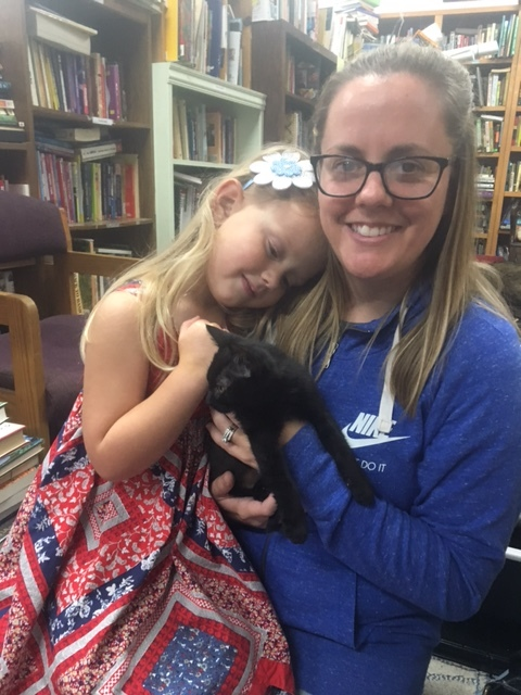 Winnie with her new mom, Alyssa, and her human sister! Adopted October 2017.