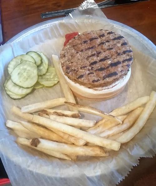 Ope's Vegan Burger with Fries