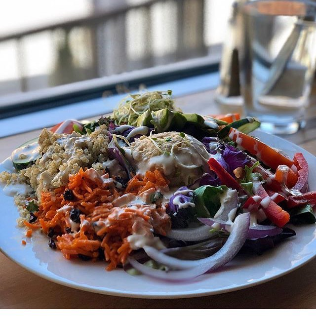 #repost from @theveganfoodreview  the superfood salad with 🍋 tahini dressing at @sobrocafeindy puts others to shame