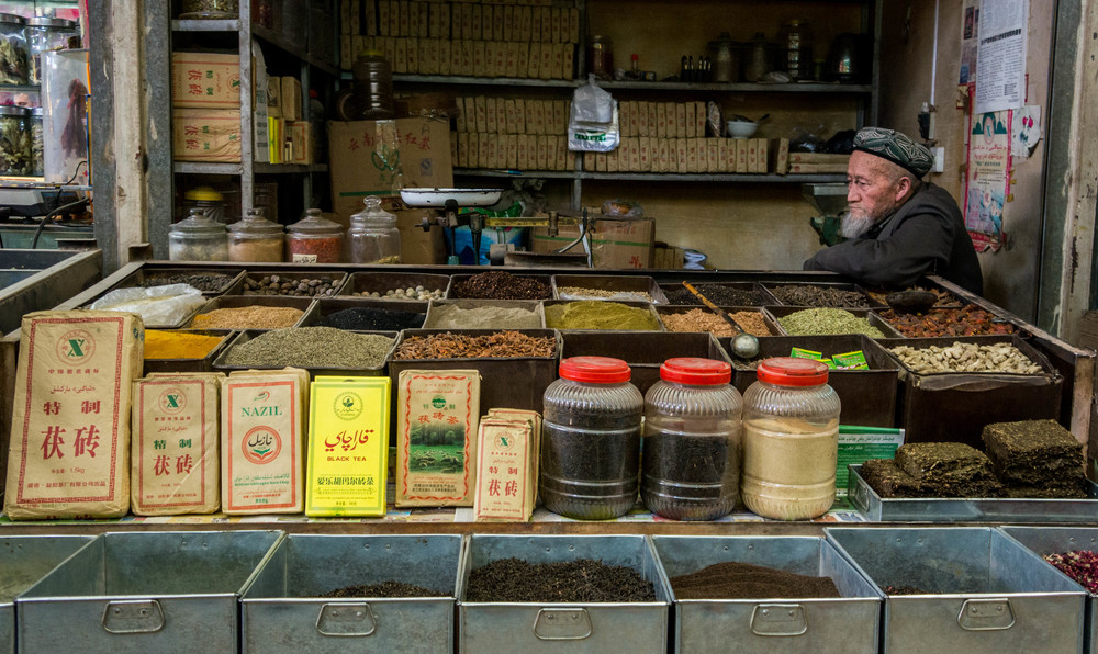 Elderly Uigher Tea Shop Owner, Kashgar, Xinjiang, China