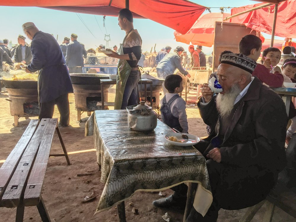 Uigher Elderly Man Drinking Tea, Kashgar, Xinjiang Province, China