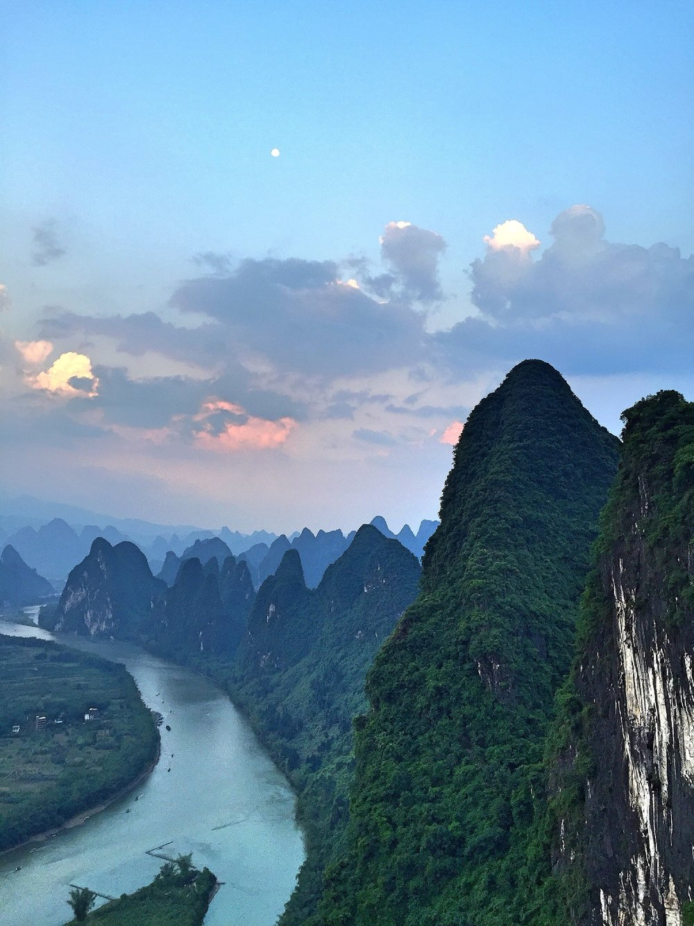 Dusk over Yangshou, China