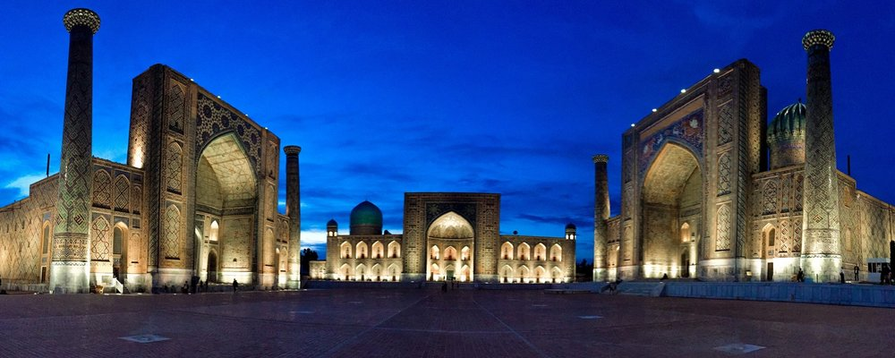 Registan at Night, Samarkand, Uzbekistan
