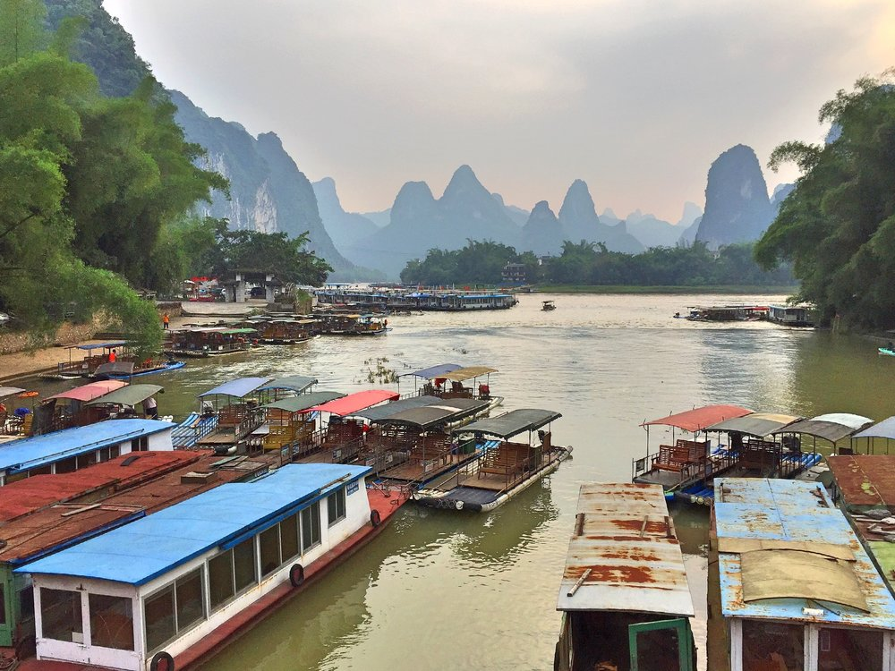 Boats Docked in Yangshuo, Guangxi, China