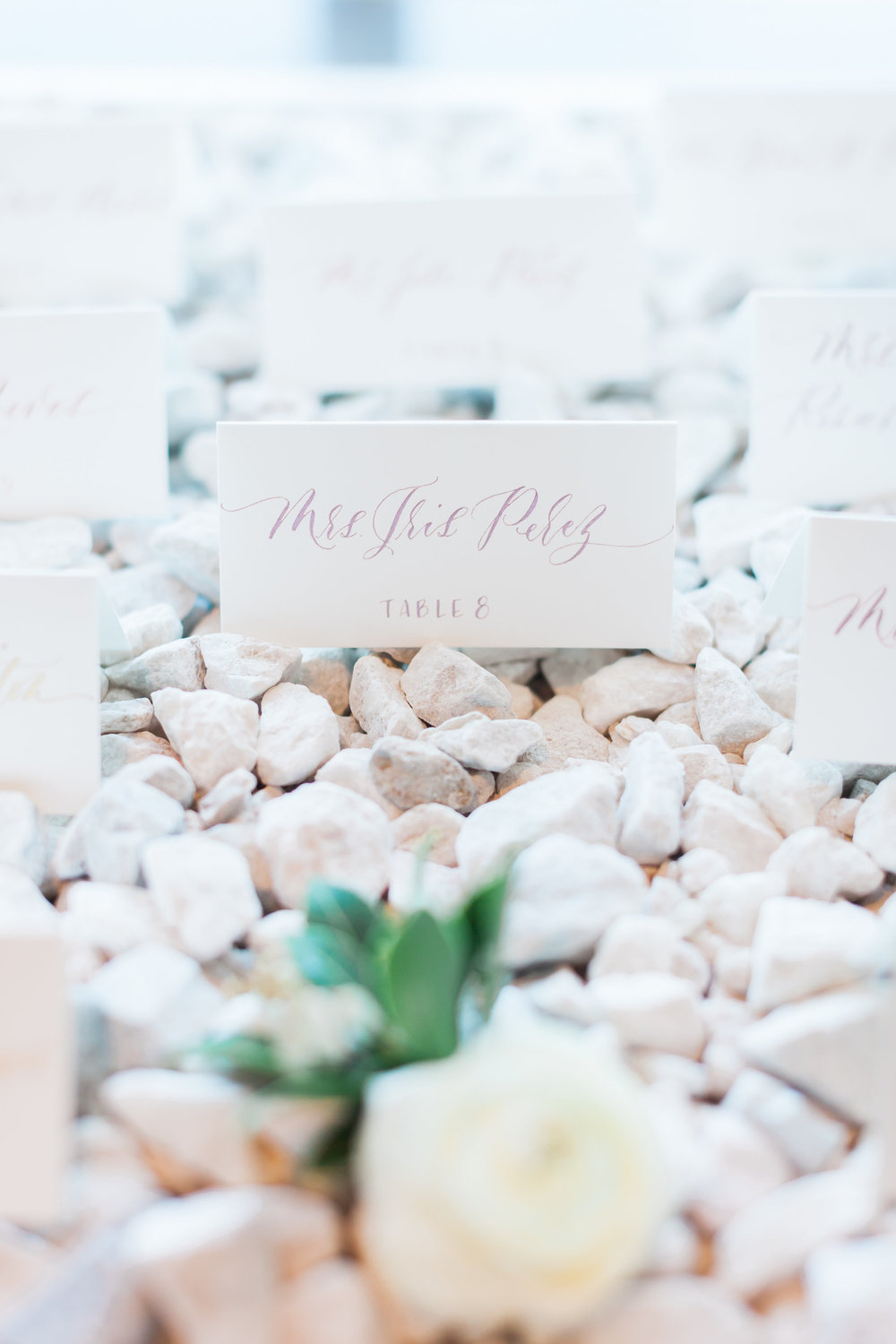 Stone escort card display by Layers of Lovely