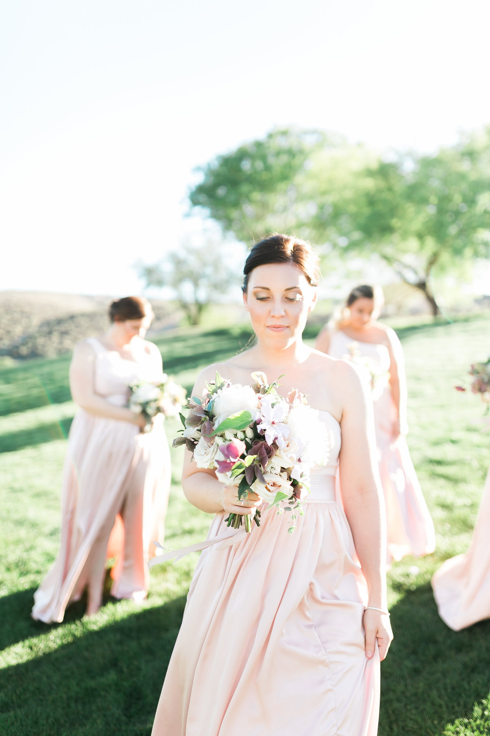 Colorado Wedding Florist Layers of Lovely. Blush bridesmaids dresses. Spring Wedding Florals.