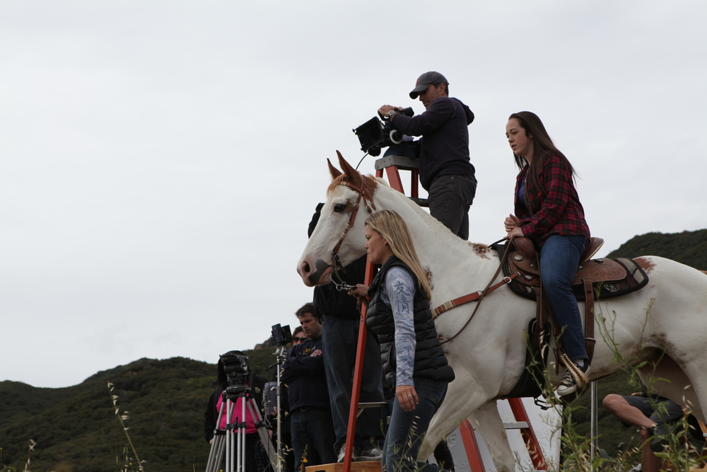 "Directing humans and a horse in Malibu Hills, CA. ""Advent"" shoot in spring 2011. Photo by Lance Lee Davis."